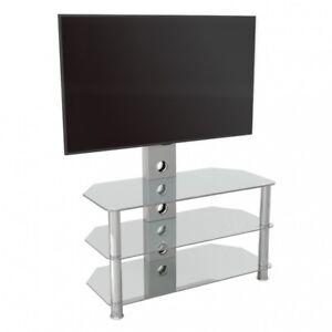 details sur verre clair meuble tv avec support mural pour 32 60 televiseurs 90 cm large avec etageres afficher le titre d origine