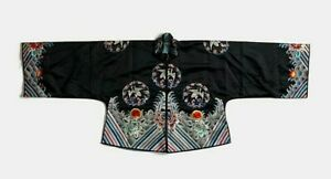 Antique Vintage Chinese Silk Jacket Robe Embroidered Cranes Flowers Floral Qing