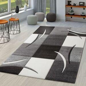 details sur tapis salon moderne palerme avec decoupe des contours en gris noir blanc