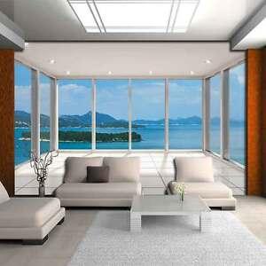 Fototapete Tapeten Ausblick Insel Terrasse Natur Fenster 3D Wasser