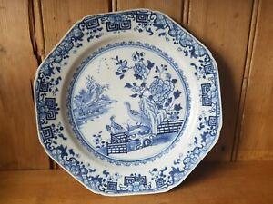 oriental blue white birds antique chinese plate