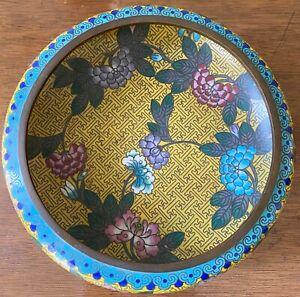 Antique Chinese Enamel Cloisonné Bronze Low Bowl Dish Hardwood Display Stand