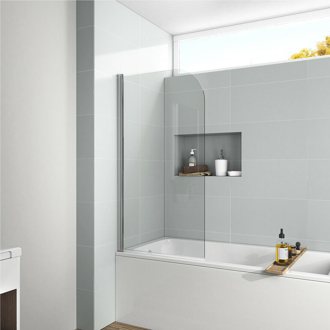 55 X30 Bathtub Shower Door Screen Hinged Frameless 1 4 Clear Glass Chrome