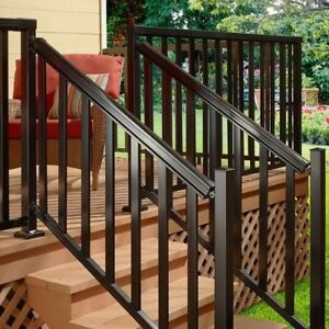Easy Install Aluminum Stair Hand And Base Rail Kit Black Porch | Wooden Handrails For Outdoor Steps | Wall Mounted Wooden | Prefab | Lighting Outdoor | Deck | Outdoor Garden Path