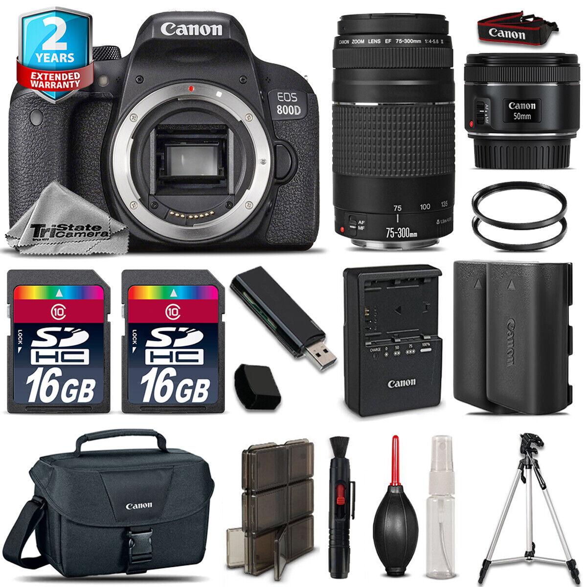 Canon Rebel 800D T7i Camera + 50mm STM + 75-300mm + EXT BATT+ 32GB +2yr Warranty