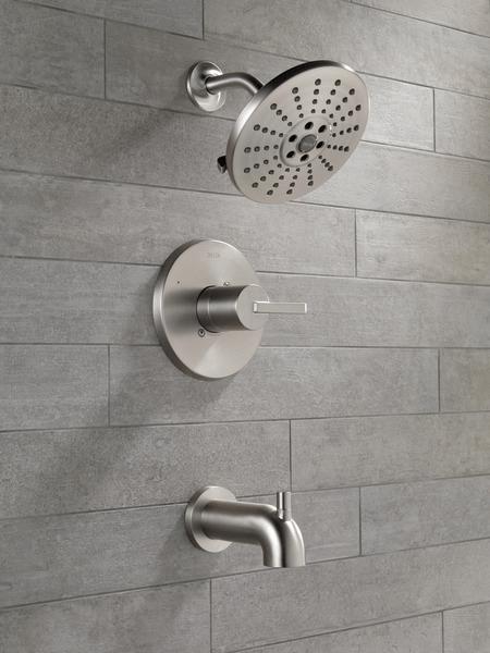delta alux spotshield brushed nickel finish tub shower bathroom faucet 144769 sp
