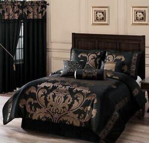 details about full queen cal king size bed black gold floral damask 7 pc comforter set bedding