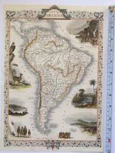 Antique vintage colour map 1800s  South America  Tallis 13 X 9     Image is loading Antique vintage colour map 1800s South America Tallis