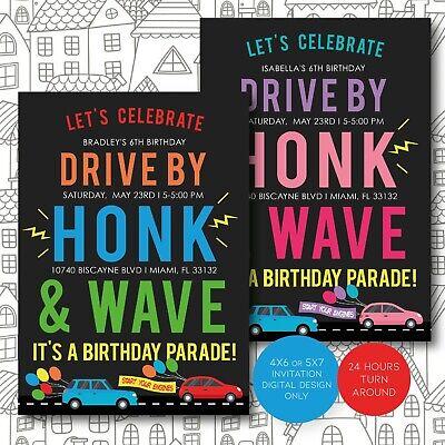 drive by birthday parade invitation drive by kids birthday party digital invite ebay