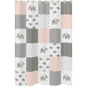 details about bathroom fabric bath shower curtain blush pink grey watercolor elephant safari