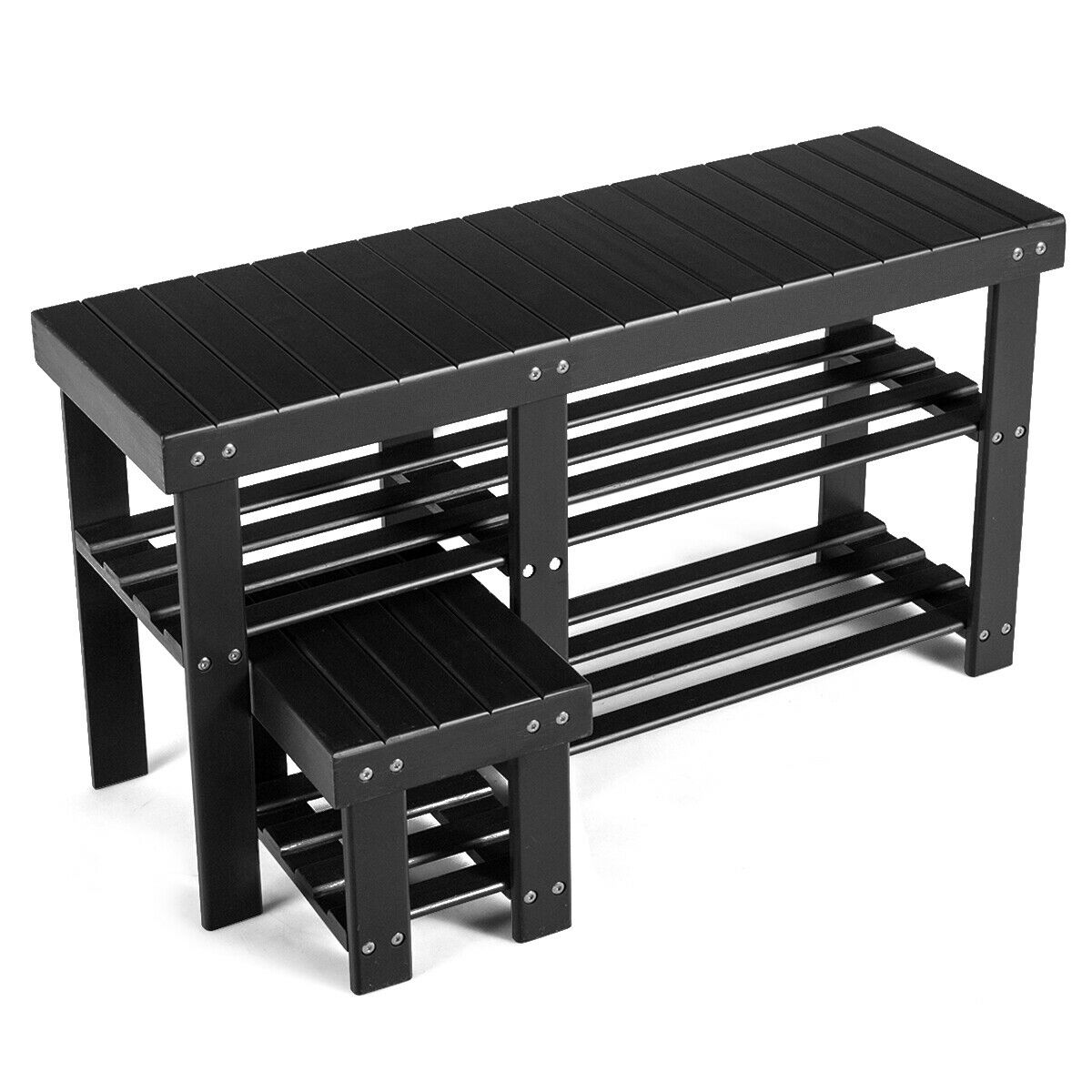 Bamboo Shoe Rack Bench With Stool 3 Tier Storage Organizer For Entryway Black For Sale Online