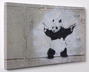 Banksy Panda With Guns Black Grey Canvas Print Wall Art ...