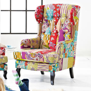 """Sessel Fernsehsessel Relaxsessel Patchwork Ohrensessel """"Happy"""" Bunt"""