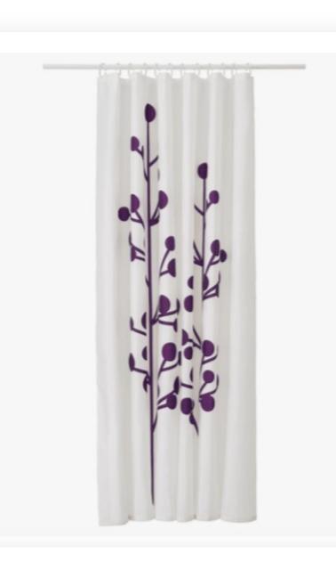 ikea dramselva shower curtain white purple blossom botanical leaf floral bud