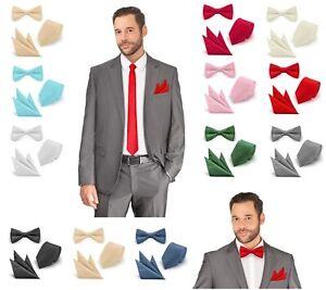 Fliege Krawatte Einstecktuch Set Gestreift Hochzeit