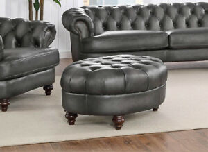 details about oval chesterfield top grain leather ottoman best quality restoration style new