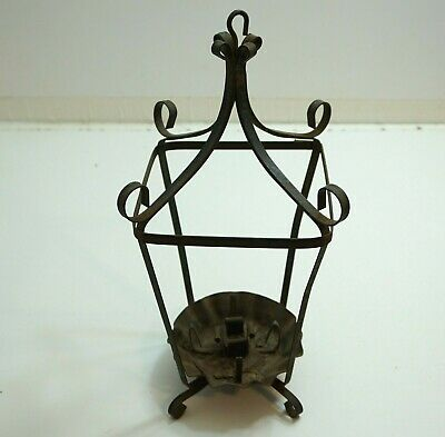 """ANTIQUE VICTORIAN WROUGHT IRON 16"""" TALL HANGING CANDLE ... on Antique Wrought Iron Wall Candle Holders id=78643"""