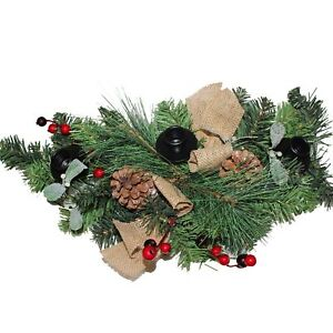 Premier Christmas Table Centrepiece Decoration 60cm Hessian Bow Df168145 5053844141915 Ebay