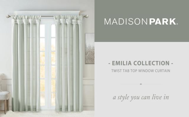 madison park twist tab lined window curtain emilia 50 x 108 dusty aqua