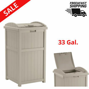details about outdoor trash can 33 gallon resin with latching lid patio garbage bin lawn patio