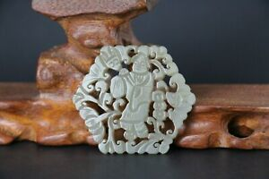 Chinese Antique hetian Jade Hand Carved People Plaque Pendant Figurines & Statue
