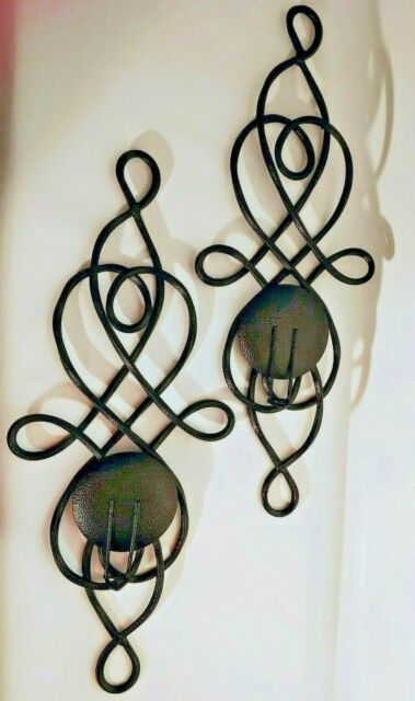 Set Of 2 Black Hammered Metal Wrought Iron Wall Sconces ... on Black Wrought Iron Wall Candle Holders id=97392