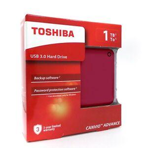 Toshiba Canvio Advance External Portable Hard Drive HDD V9 1TB USB 3.0 Red   eBay