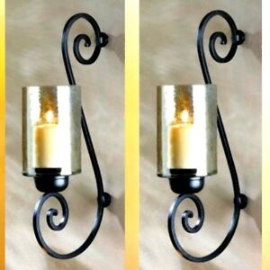 2 Black Curling Iron Sconces Hurricane Candle Holder Large ... on Large Wall Sconces Candle Holders Decorative id=88579