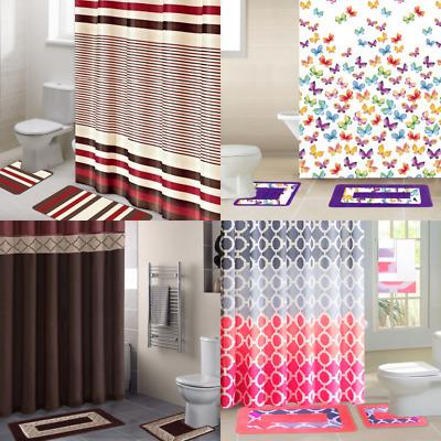 all seasons 15pc bathroom set shower curtain fabric hooks bath mats rugs new ebay