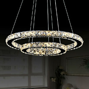 Image Is Loading Led Crystal Ring Chandelier Pendant Light Lamp Ceiling
