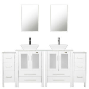 details about white bathroom vanity 72 inch set w white ceramic sink faucet small side table