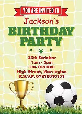 personalised childrens football birthday party invitations boys invites card ebay