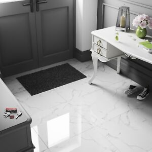 details about white marble effect high gloss porcelain tiles 60x60 wall floor bathroom kitchen