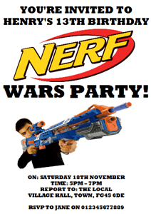details about personalised photo paper card birthday party invites invitations nerf wars gun 1