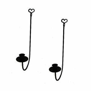 Black Wrought Iron Single Arm Wall Candle Sconces PAIR ... on Black Wrought Iron Wall Candle Holders id=70167