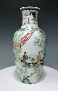 Famille verte Chinese porcelain large vase with figurines painting