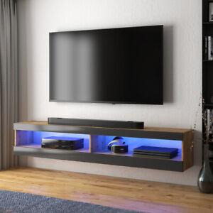 details sur meuble tv viansola 140 cm blanc gris noir chene lancaster eclairage led inclus