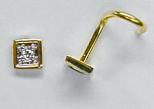 750 ECHT GOLD *** 4eck Quadrat Raute Diamant Brillant Nasenstecker Piercing
