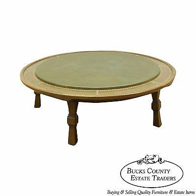 romweber viking oak round leather top copper bound coffee table ebay