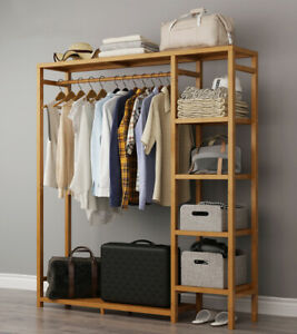 details about sturdy garment hanging stand rack hat clothes rail wooden shoe storage shelf
