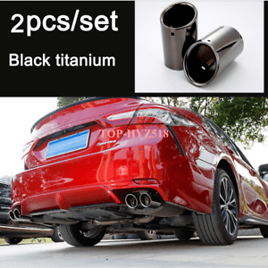 details about for toyota camry 2018 2020 se xse rear exhaust muffler tip end pipe trim 2pcs