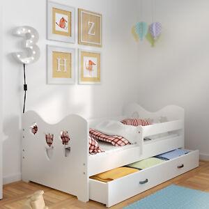 Children Toddler Kids Storage Bed Frame With Slats Foam Mattress Solid Pine Wood Ebay
