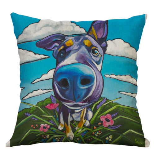 dog animal printing cotton linen pillow case home decor cushion cover home decor pillows indian south asian home decor pillows