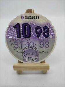 RENAULT 1998 Original Old Road Tax Disc Motor Vehicle Car Cars Discs Rare Stamp
