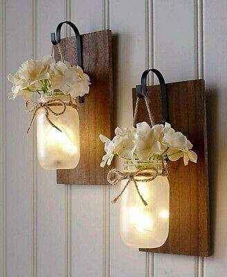 HOT! Mason Jar Wall Sconce Fairy Lights Hanging Rustic ... on Wall Sconce Lighting Decor id=38449