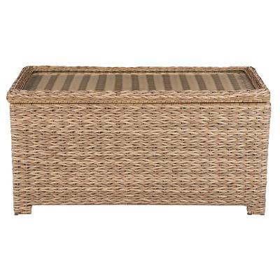laguna point natural tan wicker outdoor patio storage coffee table ebay