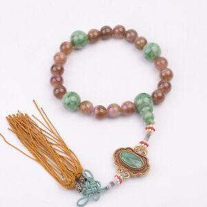 Antique Chinese Tourmaline and Jadeite Beads Bracelets