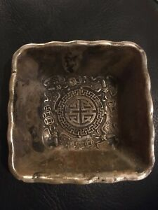Chinese unmarked silver/White Metal Square Trinket Dish-4 character mark to base