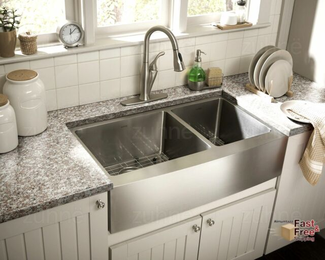 zuhne turin 33 inch farmhouse apron front 60 40 deep double bowl 16 gauge steel