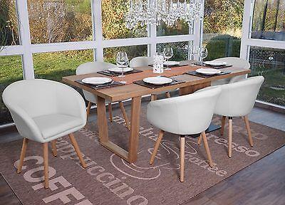 6x chaise de salle a manger malmo t633 fauteuil retro similicuir blanc ebay